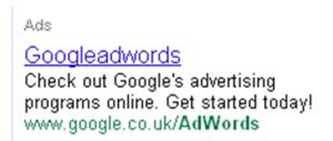 Google adwords advert