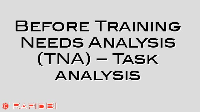 Before Training Needs Analysis (Tna) - Task Analysis