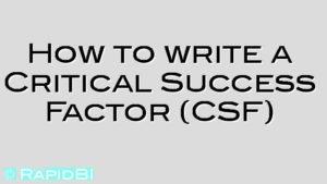 How to write a Critical Success Factor (CSF)