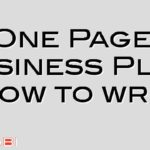 One Page Business Plan – how to write