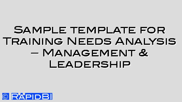 Sample Template Tna For Management & Leadership Skills