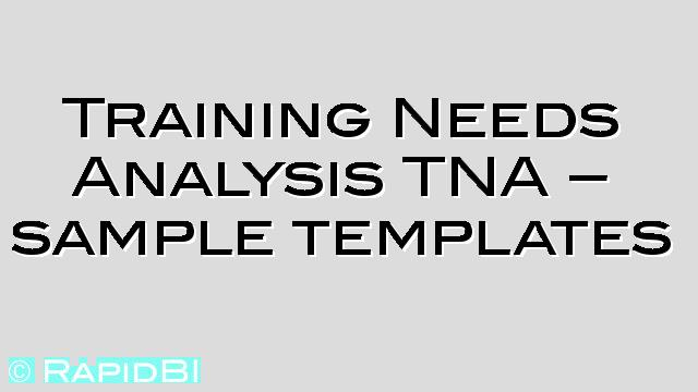 Training Needs Analysis Tna  Sample Templates