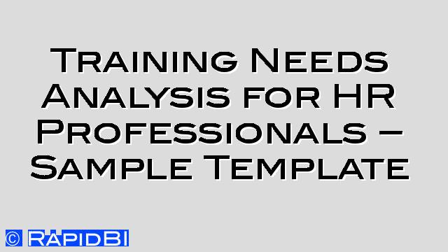 Tagged As Training Needs Analysis Archives  Rapidbi