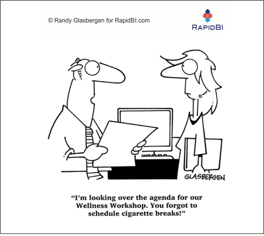 Fun Friday – Wellness & meeting skills weekly office cartoon RapidBI-Cartoon (346)