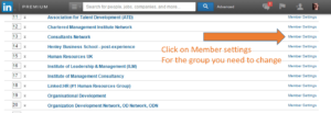 Click on Member settings For the group you need to change