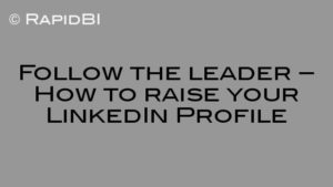 Follow the leader – How to raise your LinkedIn Profile
