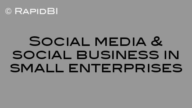 Social media & social business in small enterprises