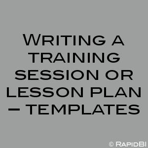 Writing a training session or lesson plan – templates