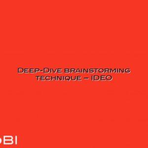 Deep-Dive brainstorming technique – IDEO