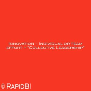 """Innovation – Individual or team effort – """"Collective Leadership"""""""