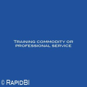 Training commodity or professional service