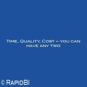 Time, Quality, Cost – you can have any two