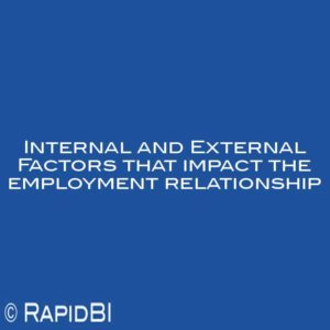 Internal and External Factors that impact the employment relationship