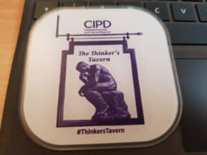 Beer mat - Thinker's Tavern - an after #cipdace17 event exploring professionalism and ethics
