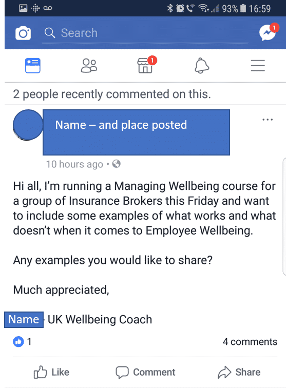 Screenshot of wellbeing coach post on social media credible?