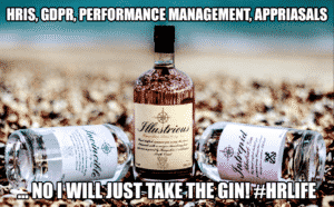 Photo of gin bottles, with text HRIS and gin