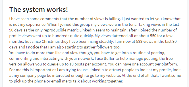 Quote of a member of the PIF group getting seen on LinkedIn