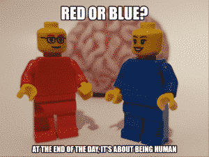 Red and blue colour people with brain in background- minifig