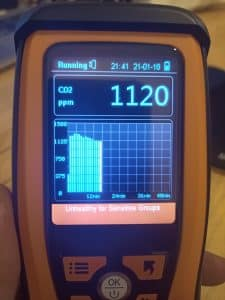 CO2 monitor showing unhealthy levels